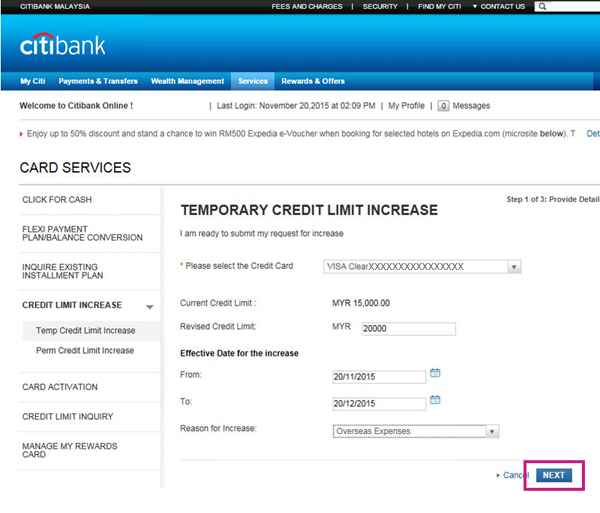 Credit Card Limit Increase Credit Card Limit Citibank
